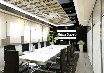 Proyecto de decoración de oficinas de Atlas Copco, en Madrid